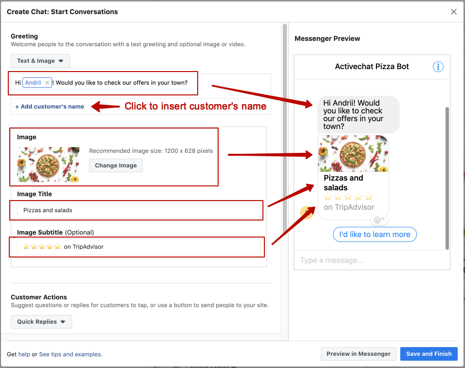 Setting up Facebook ads chatbot greeting in the Messenger template
