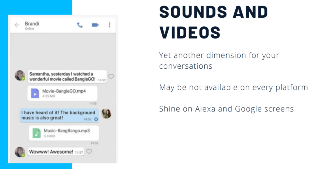 sound and video files in the chatbot