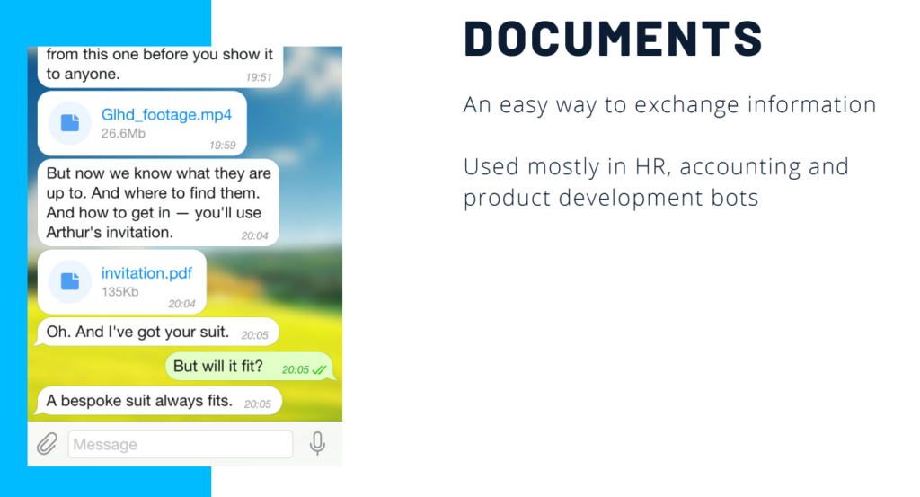 documents and files in the chatbot