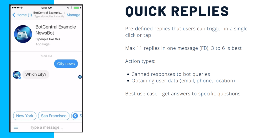 chatbot quick replies