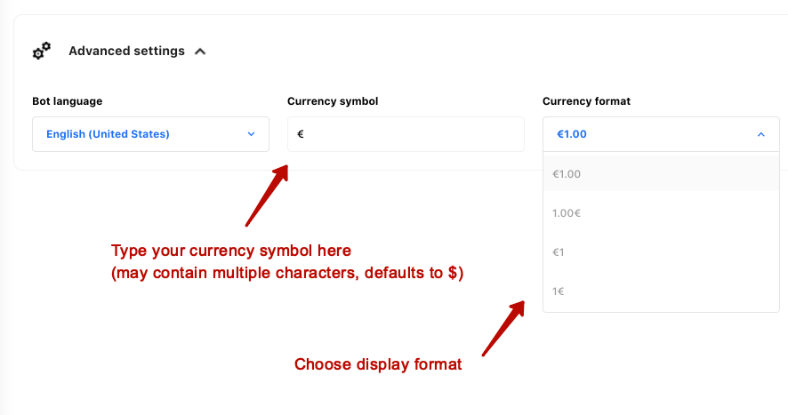 Bot currency settings