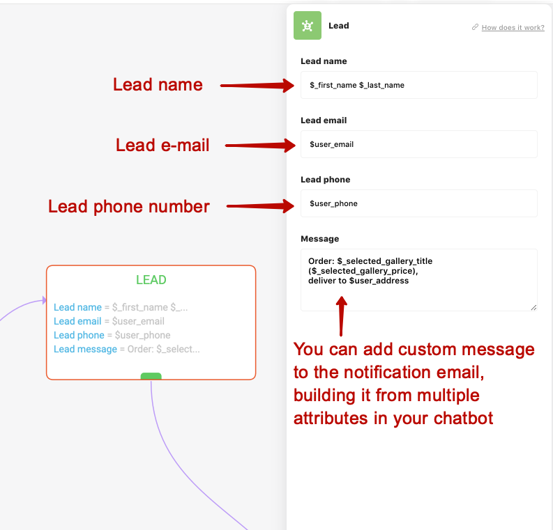 Sending notification emails with the LEAD block