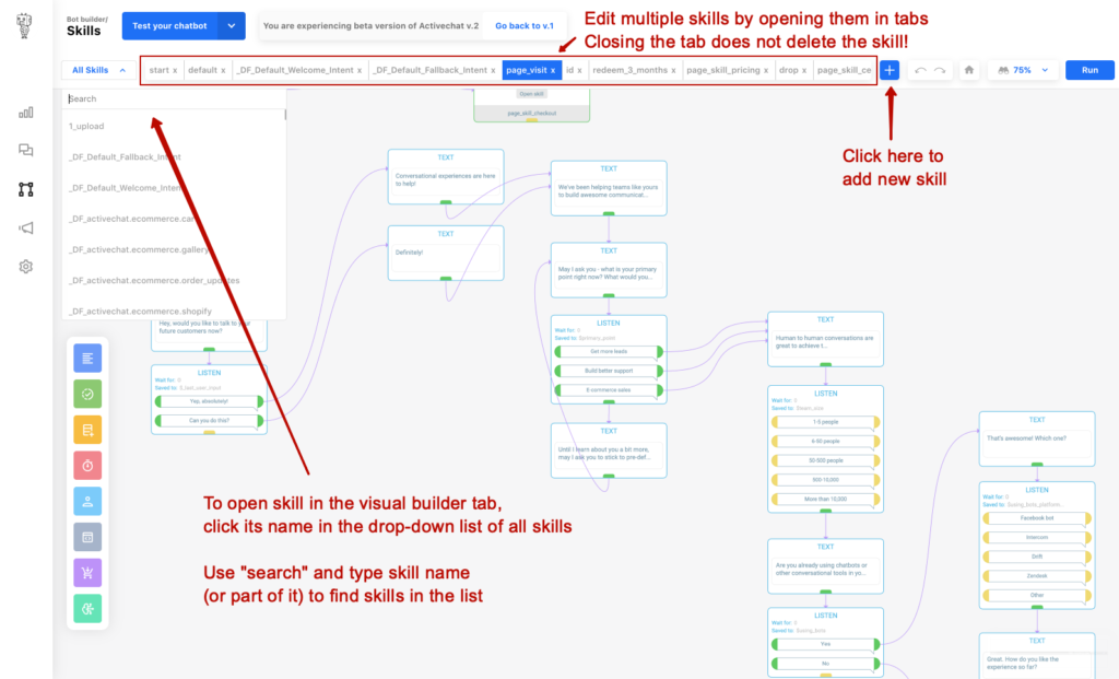 Navigating chatbot skills and opening them for editing in tabs