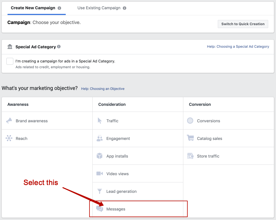 "Choosing ""Messages"" as Facebook Ads marketing objective"