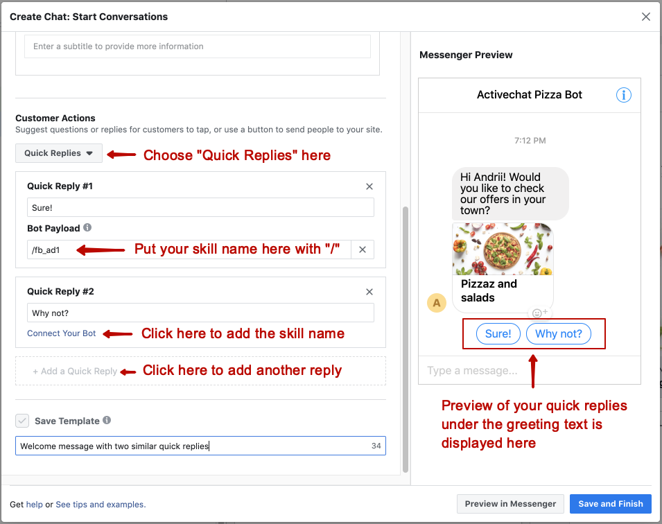 Setting up quick replies to trigger specific chatbot skill in the Messenger template