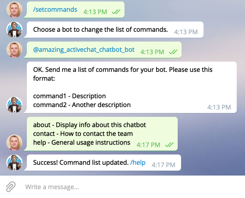 Adding a list of commands to your chatbot on Telegram