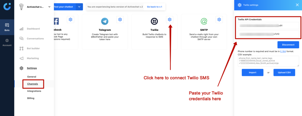 Connecting Twilio SMS chatbot to Activechat