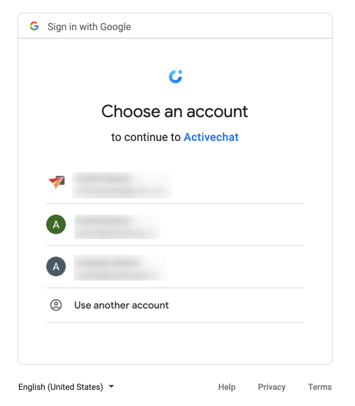 Choosing the Google account to use in the chatbot