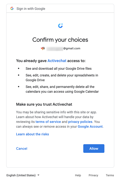 Confirming the connection of your chatbot to Google account