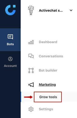 Accessing chatbot grow tools in Activechat