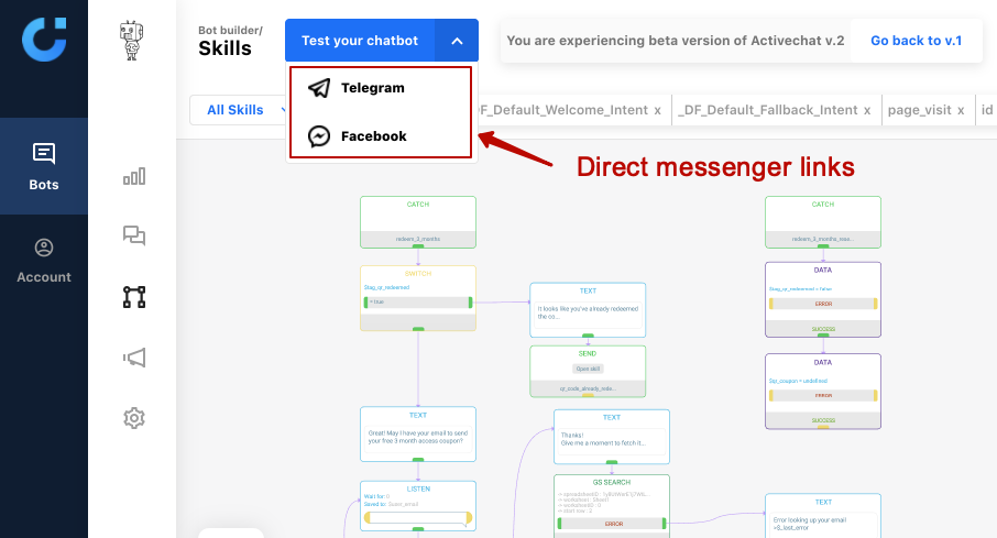 "Direct links to the ""start"" skill of your chatbot on messengers"