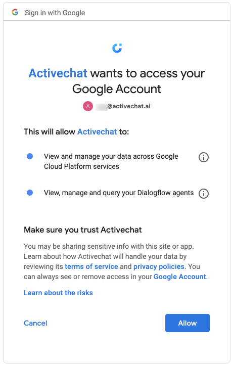 Connecting Activechat to Dialogflow