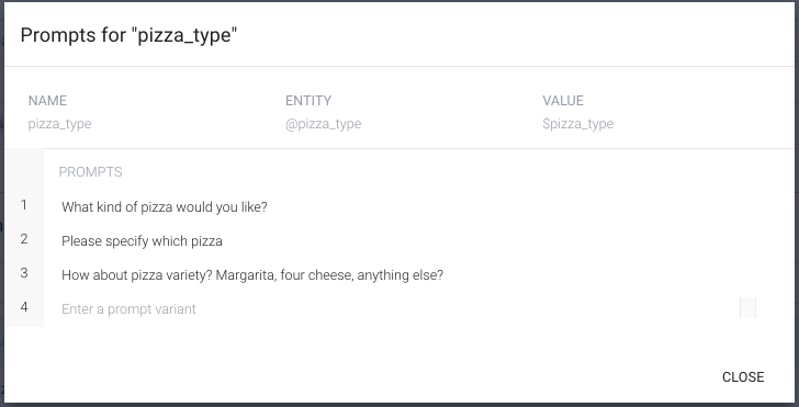 """Defining prompts for """"pizza_type"""" parameter entity"""