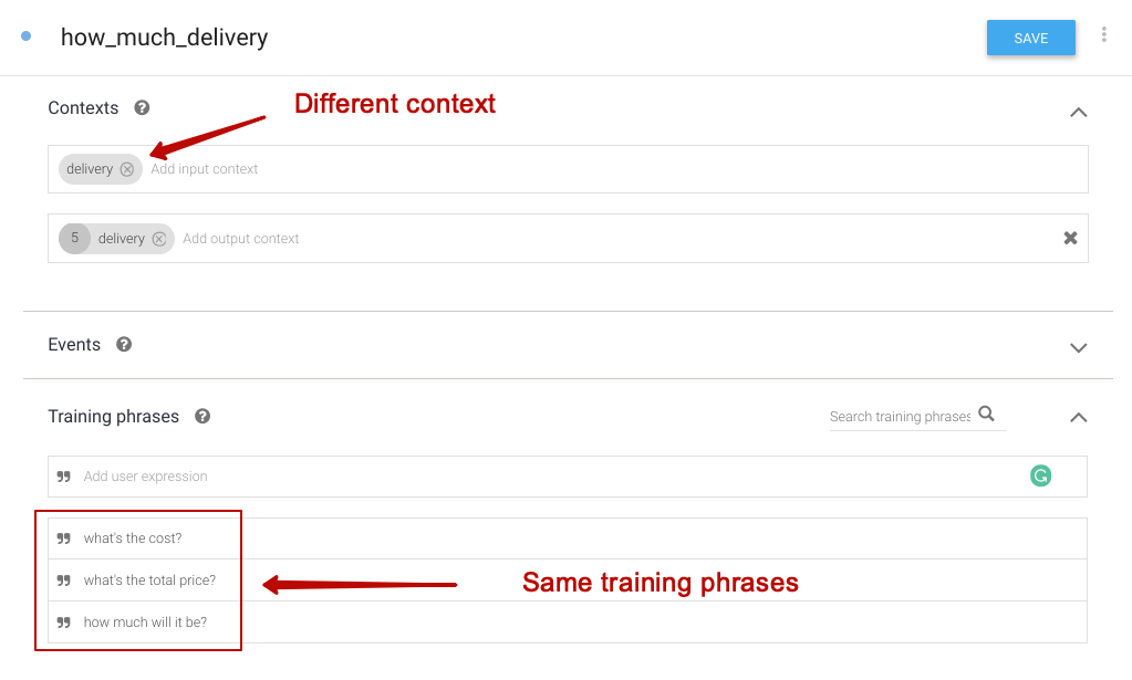 Second intent with the same training phrases and different context