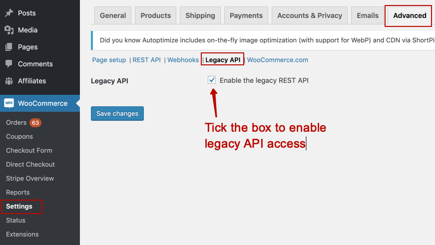 Enabling legacy REST API access for WooCommerce chatbot integration