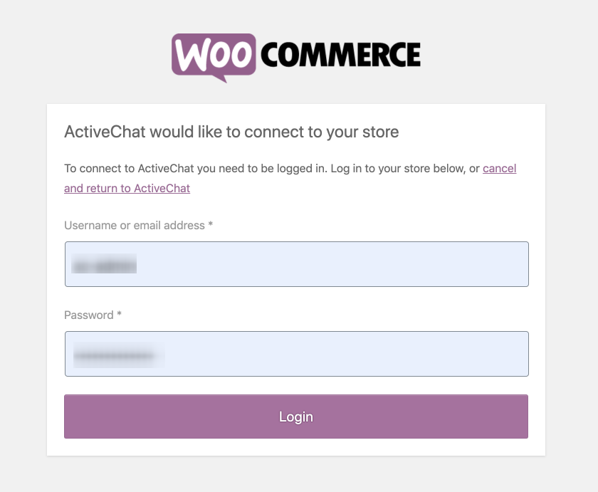 WooCommerce authentication window