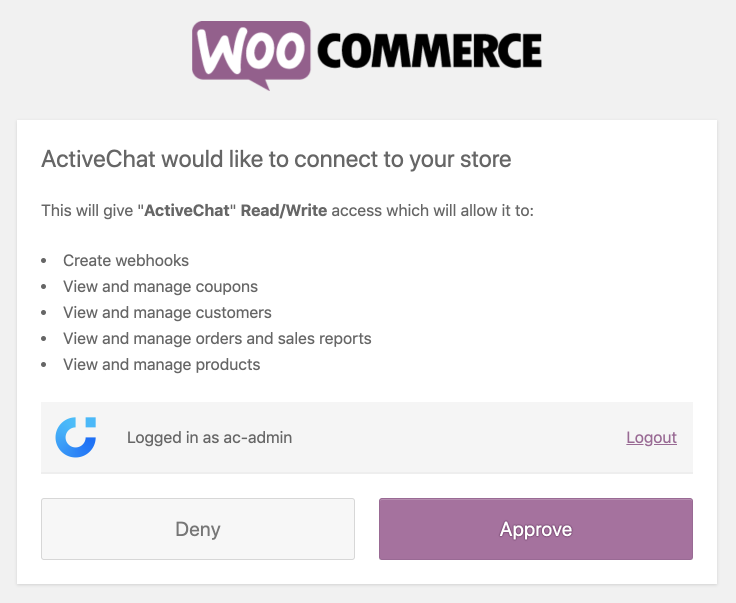 Approving WooCommerce permissions for Activechat