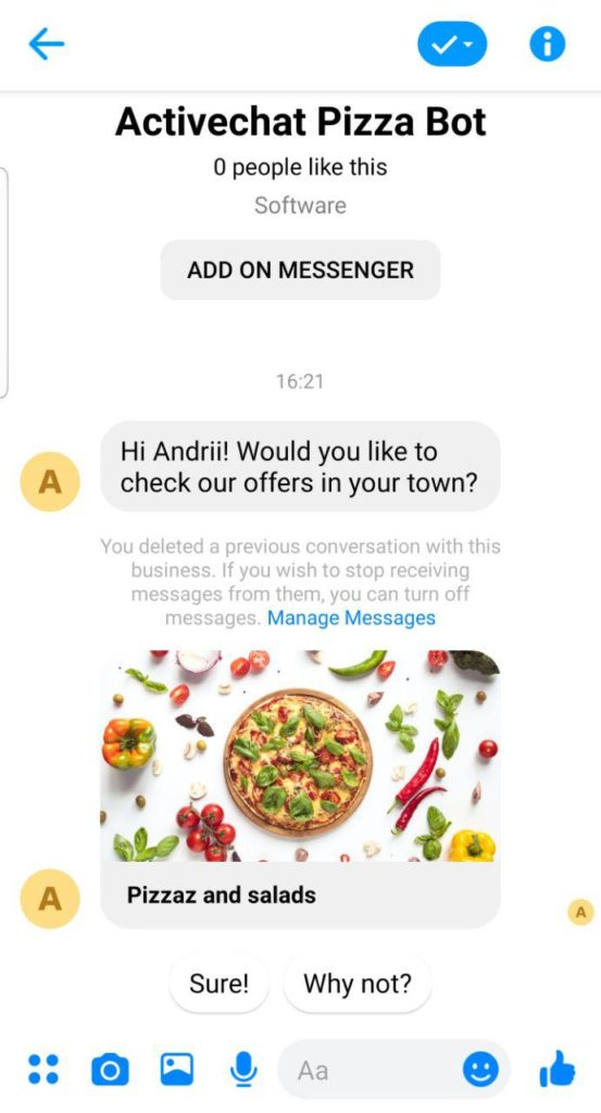 Example Messenger template for Facebook Ads chatbot