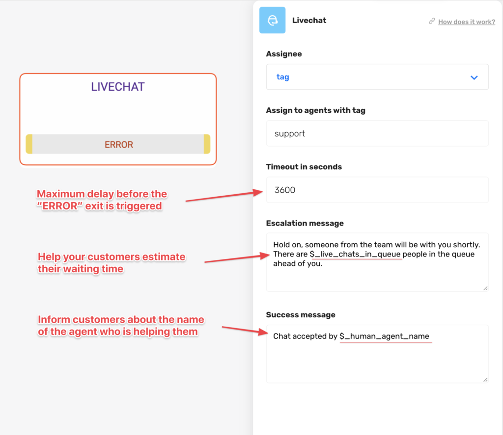 Using attributes in the LIVE CHAT block settings